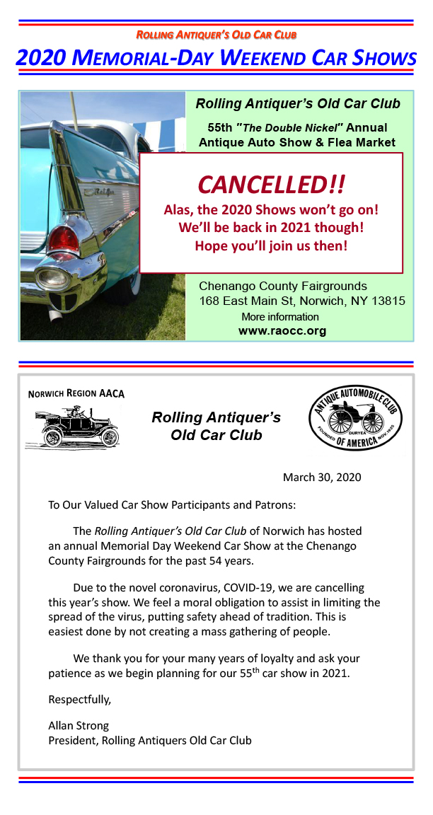 Rolling Antiquer S Old Car Club Raocc Of Norwich New York